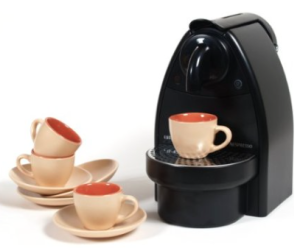 Nespresso C91 Essenza Black Espresso Machine with Free 8 Piece Retro Goldenrod and Melon Espresso Cup and Saucer Set