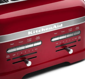 KitchenAid KMT4203CA Candy Apple Red 4-Slice Pro Line Toaster - front detail