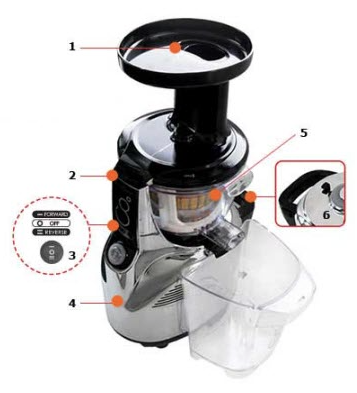 Kuvings NS-940 Silent Upright Masticating Juicer - components