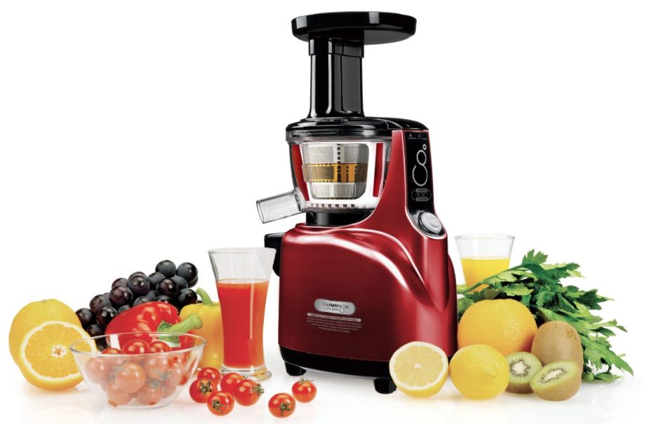 Kuvings NS-940 Silent Upright Masticating Juicer - surrounded by fresh fruit